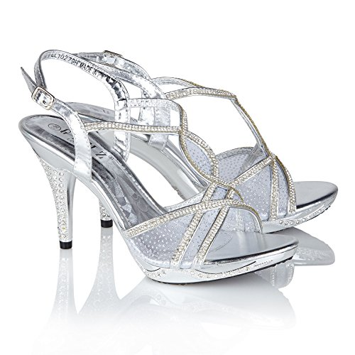 Gemz London(279) Womens High Heel Diamante Sandals Evening Prom Party Shoes Size Silver 6aFjhn3