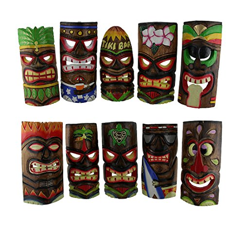 Wood Decorative Masks 10 Piece Polynesian Party Hand Carved Island Style Wooden Tiki Masks 10 Inch 4.75 X 9.75 X 1.5 Inches Multicolored