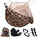Single & Double Camping Hammock with Mosquito/Bug Net, 10ft Hammock Tree Straps and Carabiners, Easy Assembly, Portable Parachute Nylon Hammock for Camping, Backpacking, Survival, Travel & More: more info