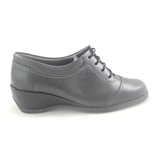 Suave Stella Dark Grey Leather Lace Up Casul Shoe B0767L2X8F