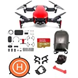 DJI MAVIC Air Combo Flame Red - Bundle 32GB Micro SDHC Card, Hard Case Backpack, Mavic Air Accessories Bundle Set, 75cm Fast-fold Drone Landing Pad