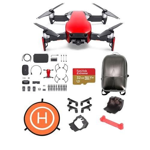 DJI Mavic Air Combo Flame Red - Bundle with 32GB Micro SDHC Card, Hard Case Backpack, Mavic Air Accessories Bundle Set, 75cm Fast-fold Drone Landing Pad