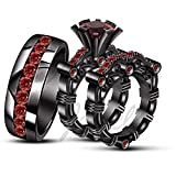 ArtLine Jewels 18K Black Gold Over 1.30 Ctw Red Garnet His And Her Trio Engagement Wedding Ring Set