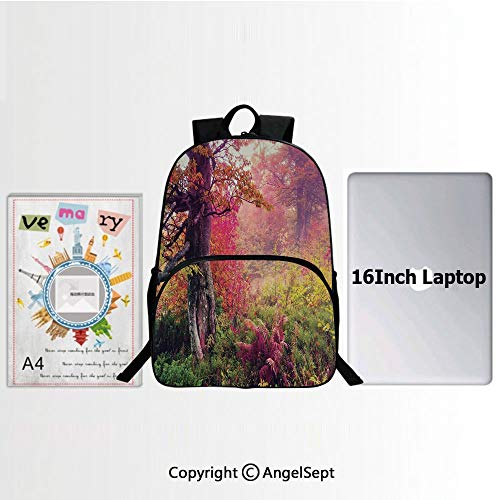 School Backpack Casual Daypack Travel Outdoor,Fairy Majestic Landscape with Autumn Trees in Forest Natural Garden in Ukraine 15.7