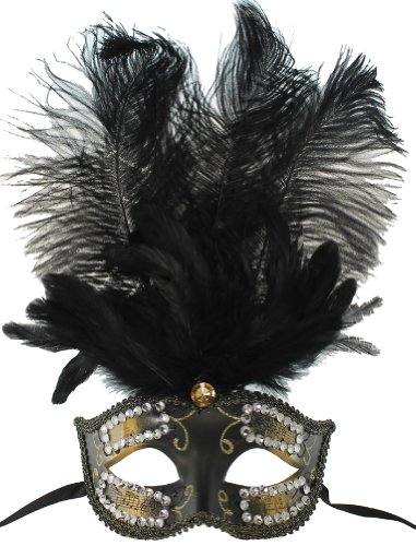RedSkyTrader Womens Feathered Mardi Gras Mask One Size Fits Most Gold Black