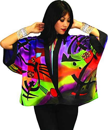 Kandinsky Inspired Hand Painted Art to Wear Silk Kabuki Jacket OS Plus Size (Hand Painted Silk Jackets)