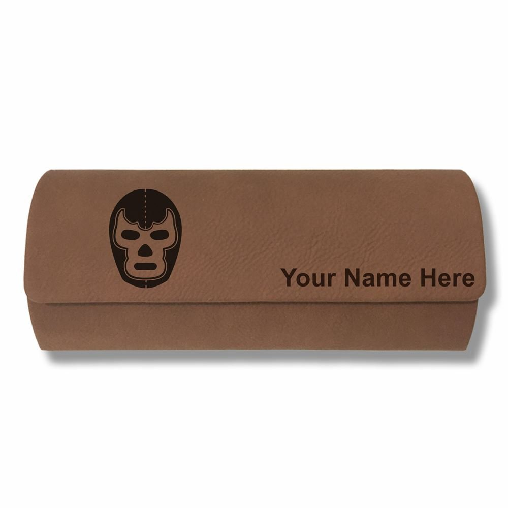 Eyeglass Case - Luchador Mask - Personalized Engraving Included (Dark Brown)