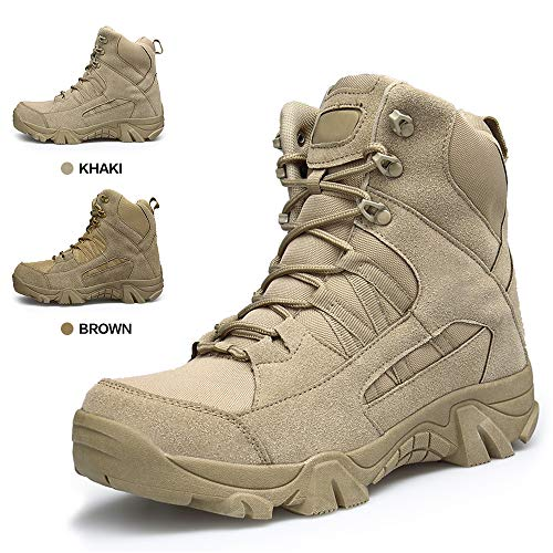 ENLEN&BENNA Men's Army Boots Tactical Combat Boots Military Boots Desert Boots Tan Composite Toe Side Zipper Brown