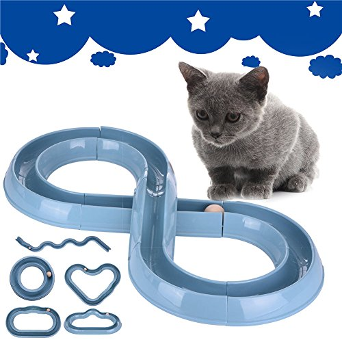 DASARA Cat Interactive Toys Play Circuit Ball Speed Track Kitten Pet Fun Wand Feather (Abc 13 Days Of Halloween)