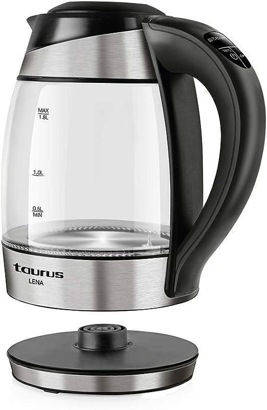 Taurus Lena Hervidor de agua, cuerpo de Cristal, 2200 W, 1.8 litros, 5, Sistema de iluminación LED según la temperatura, función Keep Warm, color plata: Amazon.es: Hogar