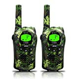 Kids Walkie Talkies, UOKOO 22 Channels and Back-lit LCD Screen (up to 6KM in open areas) Walkie Talkies for Kids (1 Pair) T668 (Army green)