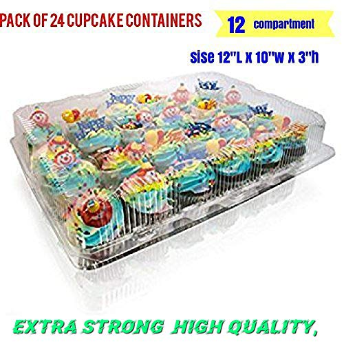 12-big Compartment Cupcake Container with Hinged Lid, Clear 12 compartment cupcake boxes, clear cupcake containers, 12 Cavity Cupcake Container (24,- 12 Compartment Cupcake Boxes )
