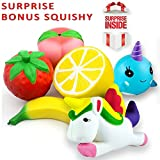 Lovellio JUMBO SQUISHIES PACK by Prime 6-PACK Slow Rising Cream Scented Kawaii Toys/ Strawberry Peach Banana Lemon Whale & Unicorn Stress Relief Toy Set For Kids & Adults. PLUS A SURPRISE GIFT