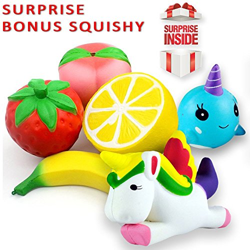 Lovellio JUMBO SQUISHIES PACK Prime 6-PACK Slow Rising Cream Scented Kawaii Toys/ Strawberry Peach Banana Lemon Whale & Unicorn Stress Relief Toy Set Kids & Adults. PLUS A SURPRISE GIFT by Lovellio