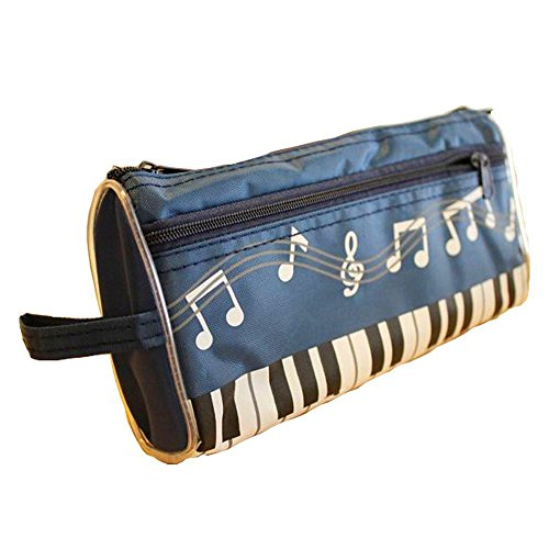 Kangkang@ Music Theme Bags Cosmetic Pen Pencil Bag Case Deep Blue Music Style Bags Note Pen Bag the Piano Cosmetic Bag Gift of Music