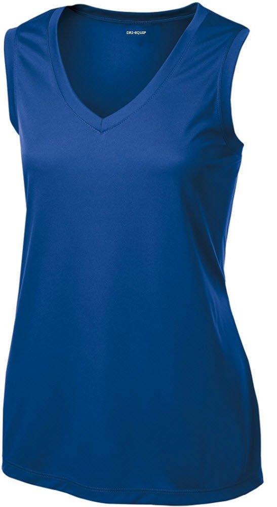 DRI-EQUIP(tm) Ladies Moisture Wicking Muscle Tank Athletic T-Shirt-True Royal-M