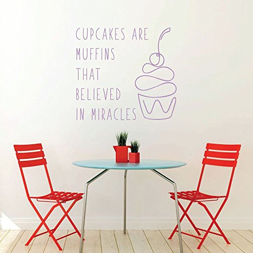 Cupcake Yummy Dessert Food Quote Vinyl Wall Decals For the Kitchen or Dining Room