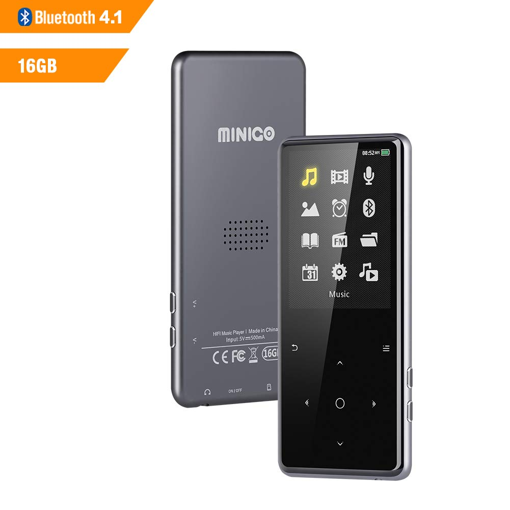 16GB MP3 Player with Bluetooth 4.1, MINIGO 2.4 inch HD Screen Lossless Sounds Music Player with Speaker, FM Radio/Record Voice/E-Book Playback up to 60Hours, Support TF Card up to 128GB, Space Gery
