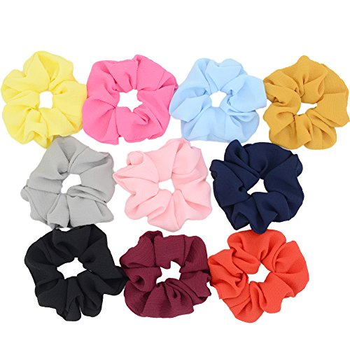Chloven 10 Pack Chiffon Scrunchies Elastic Hair Scrunchies Hair Bow Hair Ties Bands For Women Girls Hair Accessories (Bubble Chiffon) from Chloven