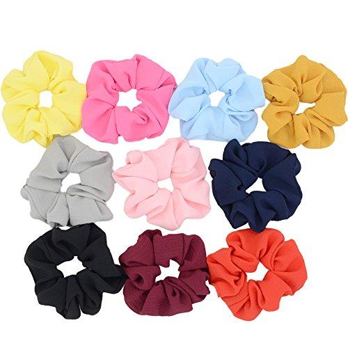 (Chloven 10 Pack Chiffon Scrunchies Elastic Hair Scrunchies Hair Bow Hair Ties Bands For Women Girls Hair Accessories (Bubble Chiffon))