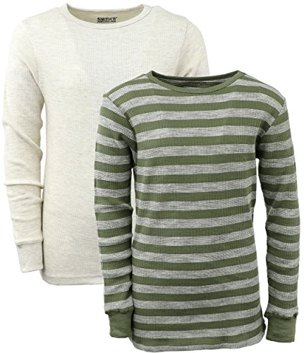 Smith's American Boys' Thermal Striped Tee (2 Pack) (Green, 10/12)