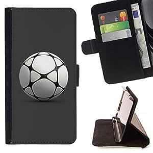 Momo Phone Case / Flip Funda de Cuero Case Cover - Balón de fútbol de fútbol Jugar Juego Gray - Samsung Galaxy E5 E500