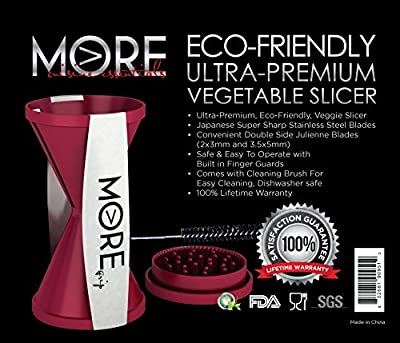 Vegetable Spiralizer/Slicer - Package,Vegetable/Zucchini Spaghetti Pasta Maker & Recipe Ebook, Ultra Premium Eco-Friendly line of More Cuisine Essentials BG - 0127B , Burgundy Wine