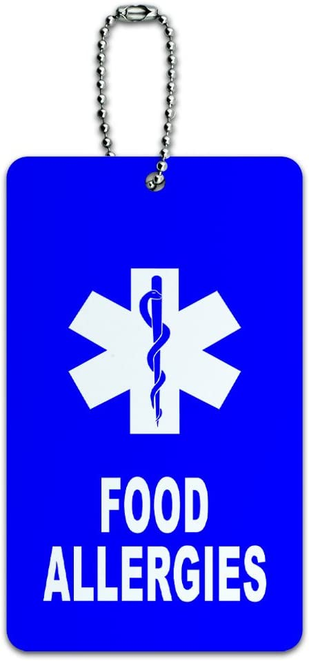 Food Allergies - Medical Emergency - Star of Life ID Tag Luggage Card Suitcase Carry-On