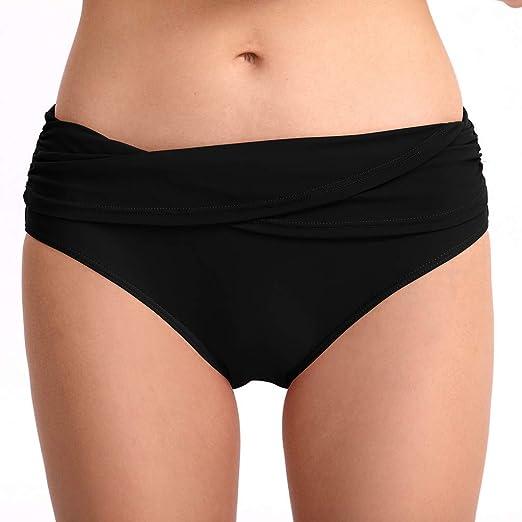 e4587c9690 NOMUSING Women Swim Bottom Ruched Bikini Tankini Swimsuit Tummy Control Briefs  Sexy Solid Beach Bathing Swimwear