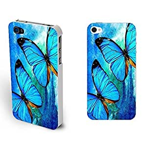 Cute Butterfly Pattern Hard Slim Fit Case Cover for Iphone 4 4s Mobile Cell Phone (blue pattern whites1156)