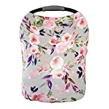 Premium Soft, Stretchy, and Spacious 5 in 1 Multi-Use Cover for Nursing, Baby Car Seat, Stroller, Scarf, and Shopping Cart - Best Gifts by Pobibaby (Grace)