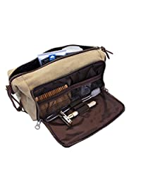 DOPP Kit Mens Toiletry Travel Bag YKK Zipper Canvas & Leather