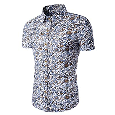 T Shirt, Han Shi Fashion Men's Button Down Short Sleeve Slim Fit Flower Casual Blouse