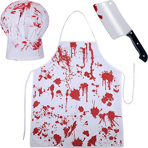 Jetec 3 Pieces Halloween Bloody Costume, Blood Apron Chef Hat and Fake Knife