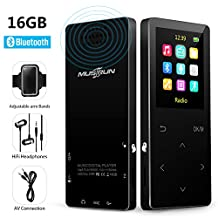 MP3 Players with Bluetooth 16gb Music player with FM Radio/ Voice Recorder,HIFI Lossless Sound Quality , Metal, Alarm Clock,Touch button , HD Sound Quality Earphone , 2018 latest models ,with an Armband, Black…