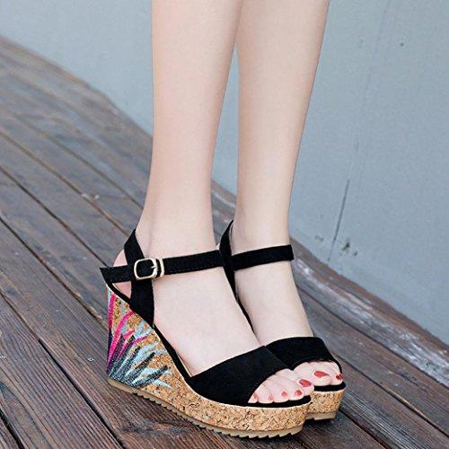 Ankle Black Toe Open Fashion Bohemian Heeled Women Strap High Platform Shoes Sandals Wedge Ladies Muium Sandals PRqpW