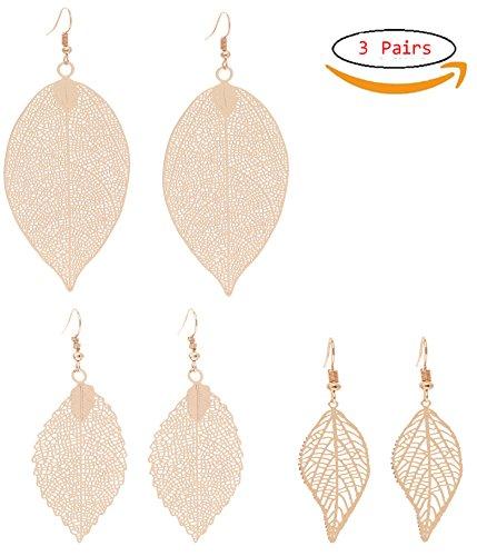 Large Leaf Earrings - Bohemian Filigree Leaf Earrings Statement Leaf Drop Earrings Set Danlge Earrings for Women(Gold)