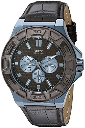 GUESS Men's U0674G5 Sporty Blue Stainless Steel Watch with Multi-function Dial and Brown Strap Buckle