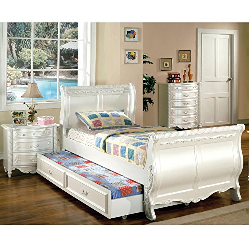 Furniture of America Mystical Reign Pearl White Sleigh Bed (Pearl Twin Sleigh)
