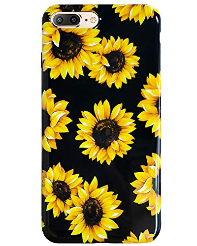 J.west iPhone 8 Plus Case,iPhone 7 Plus Case, Slim Fit Soft Silicone Rubber Bumper Protective Shock-Absorption Anti-Scratch Case Back Cover for iPhone 7/8 Plus 5.5 inch (Sunflowers)