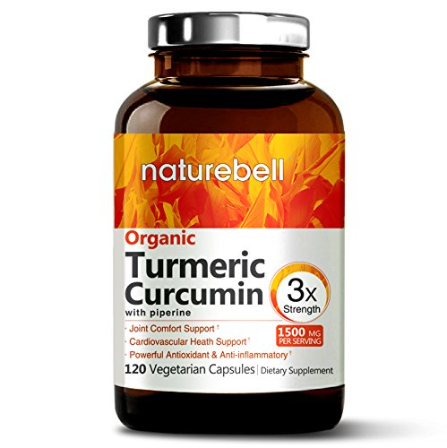 Organic Turmeric Curcumin Max Potency 95% Curcuminoids, 1500mg with Black Pepper for Best Absorption, Anti-Inflammatory Joint Relief, 120 Veggie Capsules. Non-GMO and Vegan Friendly.