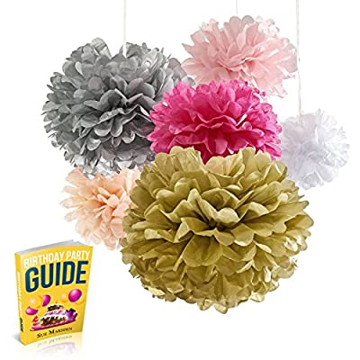 Tissue Paper Pom Poms Flowers, 18 Pom Pom Pack, Super-Fun Pink And Gold Party Supplies W/ Birthday Eguide, Hot Pink Peach White & Silver, For Home, Bachelorette, Baby Shower, Wedding Decorations