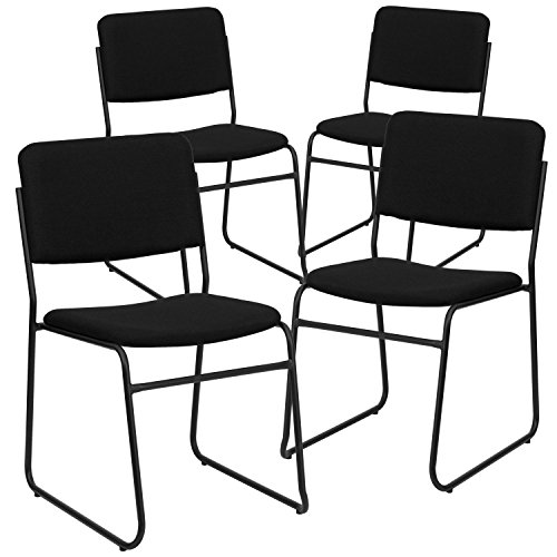 Flash Furniture 4 Pk. HERCULES Series 1000 lb. Capacity High Density Black Fabric Stacking Chair with Sled Base