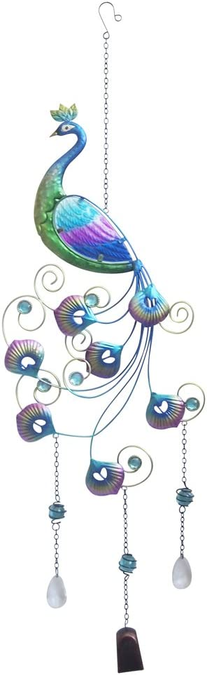"""Comfy Hour 34"""" Colorful Metal Art Peacock Hanging Wind Chime"""