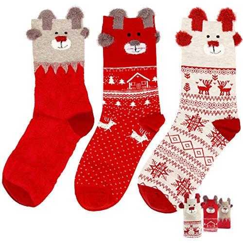Women casual animal cartoon pattern fun cute cotton crew socks tselected (3 pairs Christmas Holiday) (Casual Pattern Cartoon)
