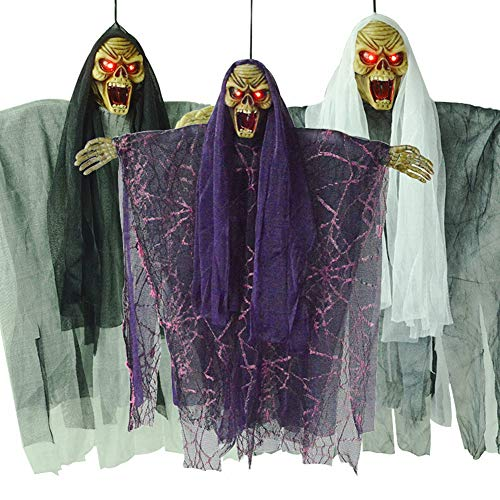 bromrefulgenc Scary Halloween Cosplay Props,LED Sounding Floating Skeleton Witch Toy Haunted House Prank forHalloween Carnival Party Random Color]()
