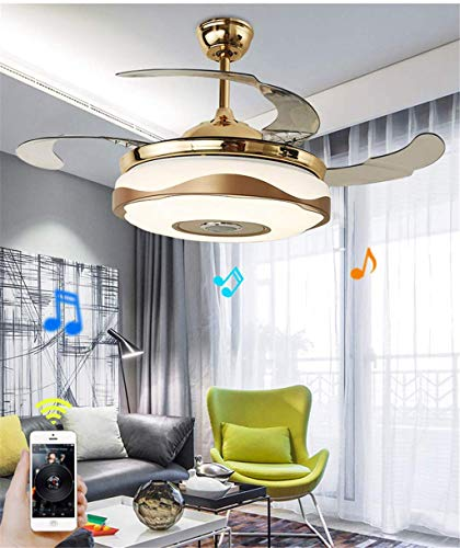 - Multi-function Ceiling Fan with Blutooth Speaker Dimmable LED Lights Remote Control Pendant Chandelier Fixtures Retractable Blades Colorful Lights for Living room, Bedroom, Dining room (36in-Gold)
