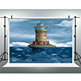 Photo Studio,Lighthouse Decor,Muslin Collapsible Backdrop Background for Photography, Video and Television,6.5x6.5ft,Lighthouse Seagulls Birds Architecture Maritime Reef Fish Undersea Scenic