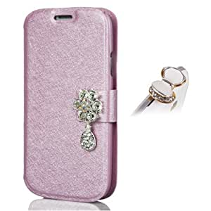 Uming Silk Texture Case for Samsung Galaxy S3 I9300 PU Leather Flip Case with Bling Shiny Rhinestone Crystal Flower Pendant Teardrop Closure Credit Card slot Wallet Shell Protective Case Cover Bag Glitter Glossy Magnetic Closure Belt + 1x Anti Dust Plug