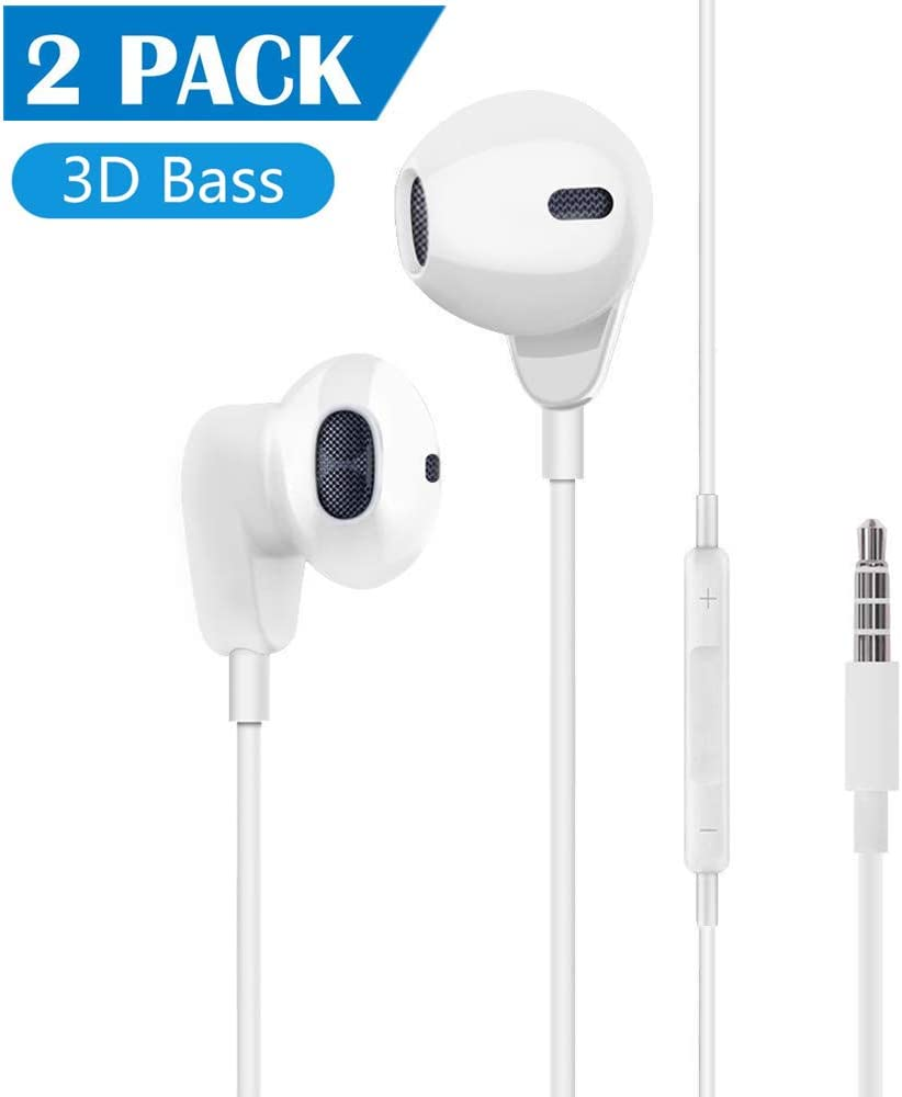 【2Pack】 Aux Headphones/Earphones/Earbuds 3.5mm Wired Headphones Noise Isolating Earphones with Built-in Microphone & Volume Control Compatible with iPhone 6 SE 5S 4/iPod/iPad/Samsung/Android/PC